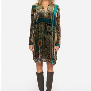 Johnny Was Velvet Printed Draden Silk Tunic Dress